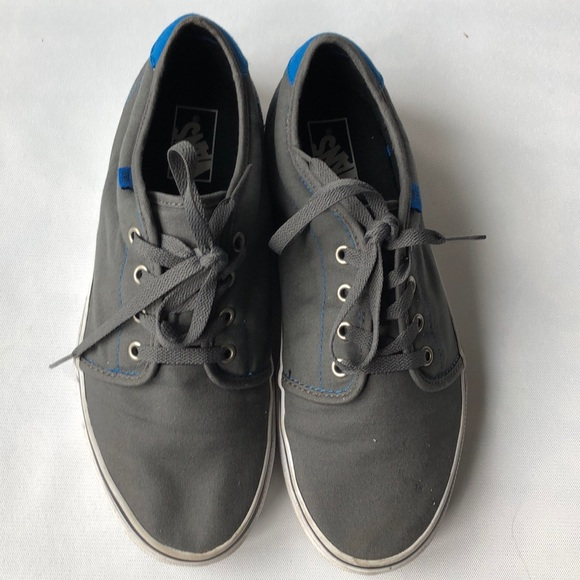 Grey and blue fabric vans
